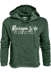 Michigan State Spartans Womens Green Cassie High Jinks Cropped Hooded Sweatshirt