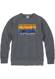 Cleveland Mens Navy Blue Skyline Long Sleeve Crew Sweatshirt