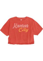 Kansas City W Red Roller Rink Wordmark Cropped Short Sleeve T Shirt