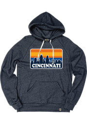 Cincinnati Navy Skyline Long Sleeve Fleece Hood Sweatshirt