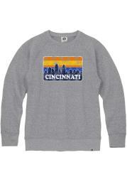 Cincinnati Mens Grey Skyline Long Sleeve Crew Sweatshirt