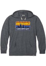 Cincinnati Navy Blue Skyline Long Sleeve T-Shirt Hood