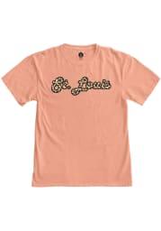St Louis Womens Pink Cheeta Wordmark Short Sleeve T Shirt
