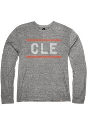 Cleveland Heather Grey CLE Block Long Sleeve T Shirt
