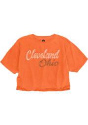 Cleveland Womens Orange Roller Rink Cropped Short Sleeve T Shirt