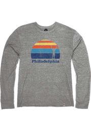 Philadelphia Heather Grey Rocky Sunset Long Sleeve T Shirt