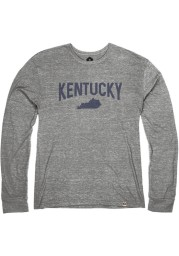 Kentucky Heather Grey State Shape Long Sleeve T Shirt