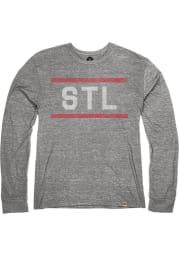 St Louis Grey STL Block Long Sleeve T Shirt