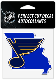 St Louis Blues 4x4 State Shaped Auto Decal - Blue