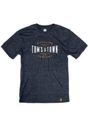 Tom's Town Distilling Co. Heather Navy Goat Logo Short Sleeve T Shirt