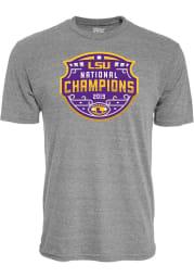 LSU Tigers Grey 2019 National Champions Short Sleeve Fashion T Shirt