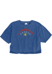 Lawrence Women's Royal Arched Wordmark Sunflower Cropped Short Sleeve T-Shirt