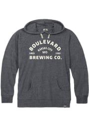 Boulevard Heather Navy Arched Logo Long Sleeve T Shirt Hood