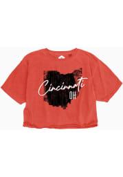 Cincinnati Women's Red State Shape Wordmark Cropped Short Sleeve T-Shirt