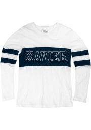 Xavier Musketeers Womens White Greta LS Tee
