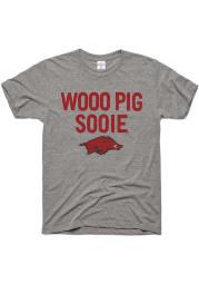 Charlie Hustle Arkansas Razorbacks Grey Woo Pig Sooie Short Sleeve Fashion T Shirt