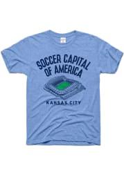 Charlie Hustle Sporting Kansas City Light Blue Soccer Capital Short Sleeve Fashion T Shirt