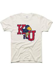 Charlie Hustle Kansas Jayhawks White Marching Jayhawk Short Sleeve Fashion T Shirt