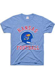 Charlie Hustle Kansas Jayhawks Light Blue Football Gridiron Short Sleeve Fashion T Shirt