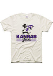 Charlie Hustle K-State Wildcats White Heritage Script Short Sleeve Fashion T Shirt