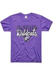 Charlie Hustle K-State Wildcats Purple 90s Throwback Short Sleeve Fashion T Shirt