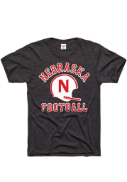 Charlie Hustle Nebraska Cornhuskers Charcoal Football Gridiron Short Sleeve Fashion T Shirt