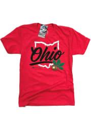 GV Art + Design Ohio Red State Shape Wordmark Short Sleeve T-Shirt