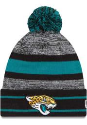 New Era Jacksonville Jaguars Black Cuff Pom Mens Knit Hat