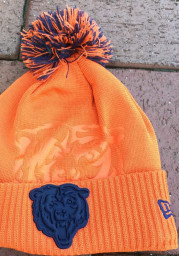 New Era Chicago Bears Orange Dart Cuff Pom Tech Mens Knit Hat