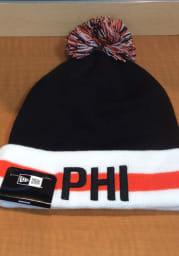 New Era Philadelphia Black Stripe Cuff Pom Mens Knit Hat