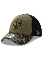 New Era Sporting Kansas City Mens Olive Military Appreciation 39THIRTY Flex Hat
