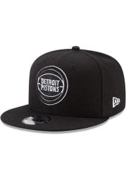 New Era Detroit Pistons Black 9FIFTY Mens Snapback Hat