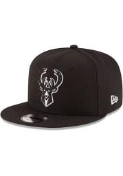 New Era Milwaukee Bucks Black 9FIFTY Mens Snapback Hat