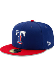 New Era Texas Rangers Mens Blue 2020 Batting Practice 59FIFTY Fitted Hat