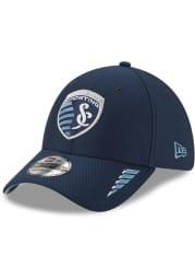 New Era Sporting Kansas City Mens Navy Blue Rush 39THIRTY Flex Hat