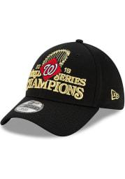 New Era Washington Nationals Mens Black 2019 World Series Champions LR 39THIRTY Flex Hat