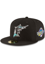 New Era Miami Marlins Mens Black 1997 World Series Side Patch 59FIFTY Fitted Hat