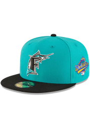 New Era Miami Marlins Mens Teal 1997 World Series Side Patch 59FIFTY Fitted Hat