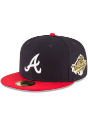New Era Atlanta Braves Mens Navy Blue 1995 World Series Side Patch 59FIFTY Fitted Hat