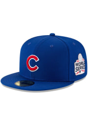 New Era Chicago Cubs Mens Blue 2016 World Series Side Patch 59FIFTY Fitted Hat