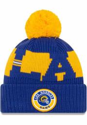 New Era Los Angeles Rams Blue 2020 Retro Sideline Sport Mens Knit Hat