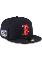 New Era Boston Red Sox Mens Navy Blue QT World Series Side Patch 59FIFTY Fitted Hat