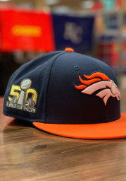 New Era Denver Broncos Mens Navy Blue Super Bowl 50 Side Patch 59FIFTY Fitted Hat