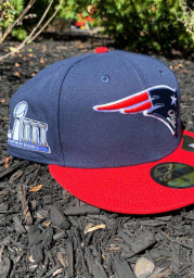 New Era New England Patriots Mens Navy Blue Super Bowl LIII Side Patch 59FIFTY Fitted Hat