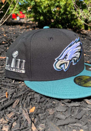 New Era Philadelphia Eagles Mens Black Super Bowl LII Side Patch 59FIFTY Fitted Hat