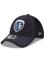 New Era Sporting Kansas City Mens Navy Blue Team Neo 39THIRTY Flex Hat