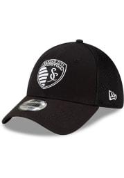 New Era Sporting Kansas City Mens Black and White Neo 39THIRTY Flex Hat