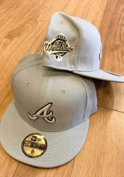 New Era Atlanta Braves Mens Grey Tonal Black Pop 1995 WS Side Patch 59FIFTY Fitted Hat
