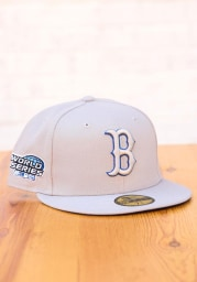 New Era Boston Red Sox Mens Grey Tonal Royal Pop 2004 WS Side Patch 59FIFTY Fitted Hat