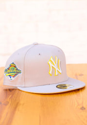 New Era New York Yankees Mens Grey Tonal Gold Pop 1996 WS Side Patch 59FIFTY Fitted Hat